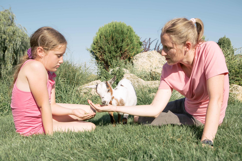 Mamă și fiică și un ied care mănâncă din palmă