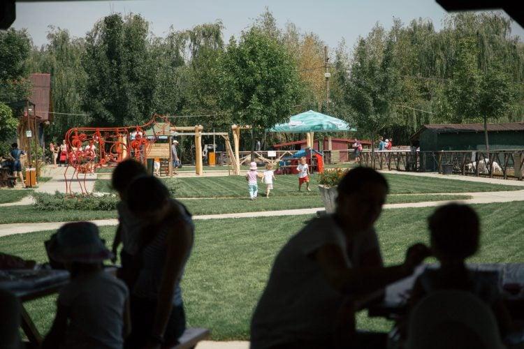 Copii alergând pe gazon