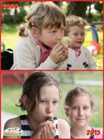 Maria și Ioana cu un pui de gaină